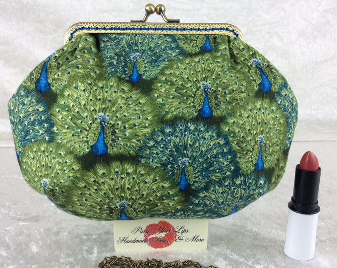 Peacocks small frame handbag purse bag fabric clutch shoulder bag frame purse kiss clasp bag Handmade Birds