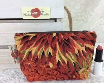 Chrysanthemums Flowers Zipper case zip pouch fabric bag pencil case purse pouch Kaffe Fassett Philip Jacobs