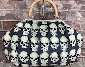 Gothic Skulls fabric frame handbag, Kiss clasp, Kiss lock purse, Shoulder bag,  Wooden handle, Handmade, Alexander Henry, Rad Skulls