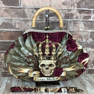 Handmade by Purse Your Lips Gothic Day of the dead fabric frame handbag Kiss clasp Shoulder bag Kiss lock purse Wooden handle