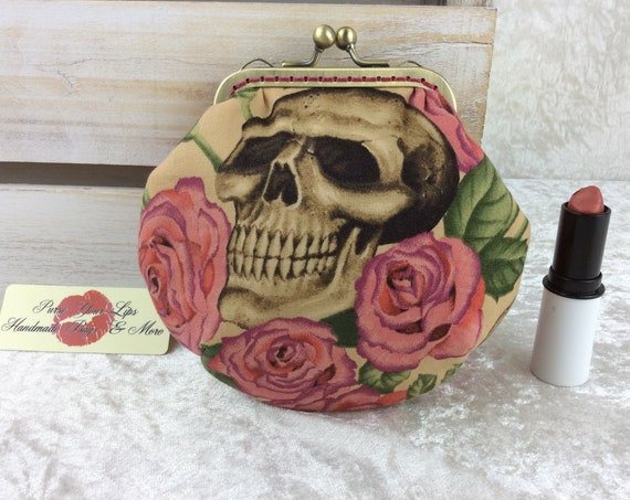 Coin purse wallet Gothic Skulls Roses fabric kiss clasp frame wallet change pouch handmade frame Alexander Henry  Resting In Roses