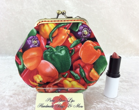 Coin purse wallet Peppers fabric kiss clasp frame wallet change pouch handmade hand stitched frame Chillis