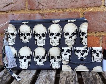Gothic Rad Skulls Zip Clutch bag wristlet set, Purse with matching card case and wrist strap, Tassel, 2 sizes, Handmade, Alexander Henry