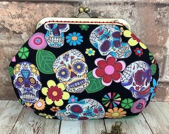 Candy Skulls Small fabric frame clutch, Makeup bag, Handbag, Purse, Kiss clasp, click lock, Handmade Day of the Dead Dia De Los Muertos