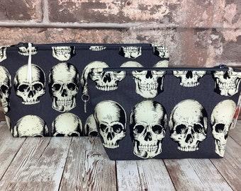 Gothic Rad Skulls Zip case, Zipper pouch, Purse wallet, Pencil makeup bag, Fabric, 2 sizes available, Handmade Alexander Henry