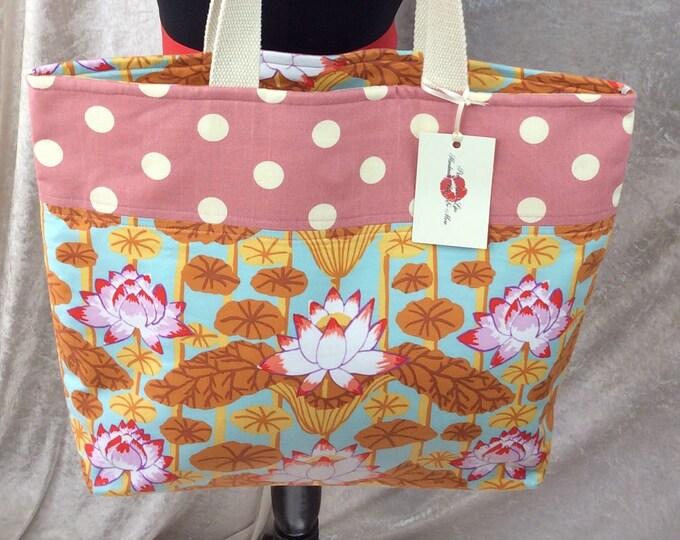 Handmade Beach tote shoulder bag shopping day bag purse fabric shopper Philip Jacobs Kaffe Fassett Lotus Flowers