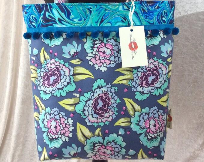 Handmade Tote Shouder bag shopping day bag purse fabric shopper Pom Pom Flowers