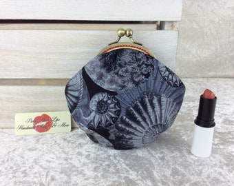 Ammonite fossils coin purse wallet fabric kiss clasp frame wallet change pouch handmade shells