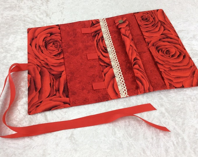 Red Roses Jewellery roll Jewelry organiser travel case wrap pouch Flowers