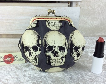 Skulls Gothic coin purse wallet fabric kiss clasp frame wallet change pouch handmade Alexander Henry hand stitched frame Rad Skulls