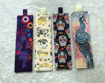 Fabric Bookmarks Handmade Bookmarks bubbles cats Mexican Skulls Peacocks