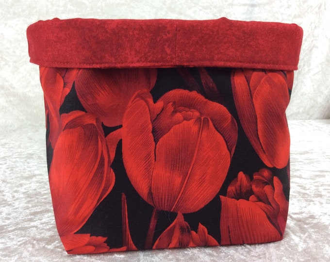Red Tulips fabric basket storage bin box flowers