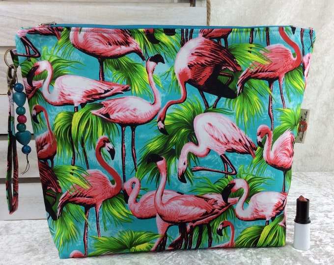 Flamingos Giant Zipper Case Zip Pouch Bag Purse fabric Strap Pencil Makeup Tropical Birds