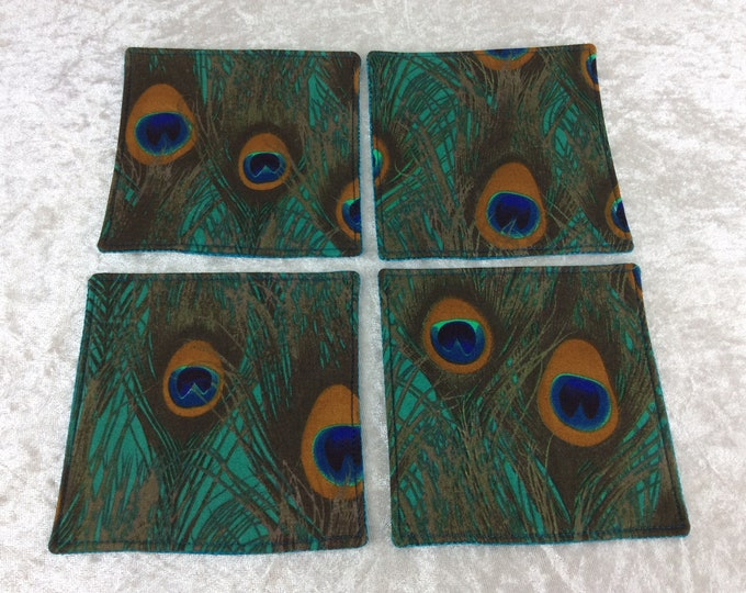 Peacock Feathers Fabric coasters set of 4 mug rugs chilli peppers