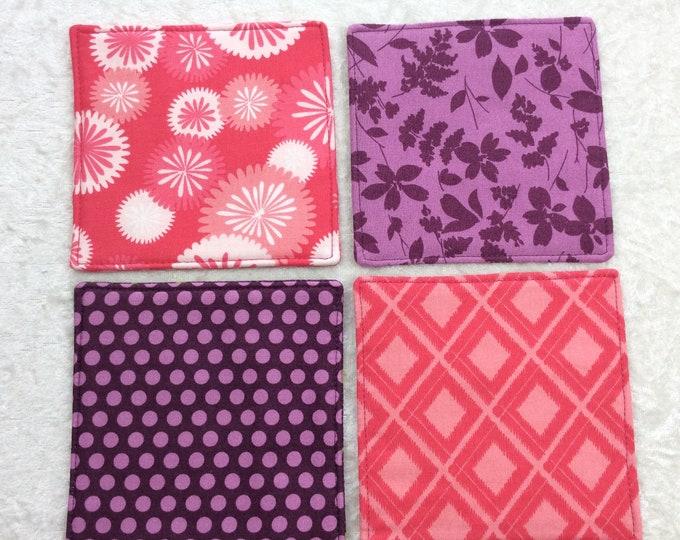 Fabric coasters set of 4 mug rugs  shades of pink and purple