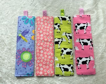 Fabric Bookmarks Handmade Bookmarks Flowers dragonfly's cows
