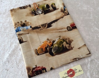 Racing Car Classic Cruiser Large Tablet Case fabric cover pouch handmade in England