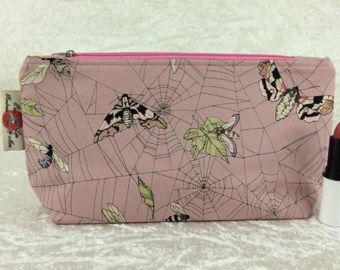 Gothic moths Web Zipper case zip pouch fabric bag pencil case purse pouch Alexander Henry Ghastlie Web