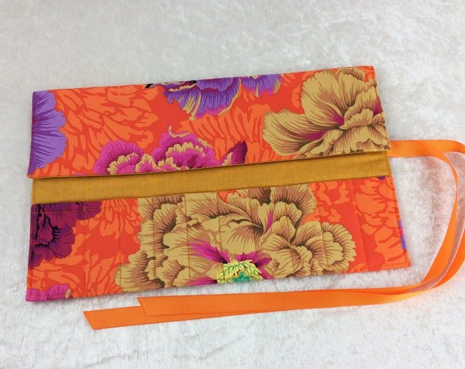 Peony Flowers Makeup Pen Pencil Roll Crochet Knitting needles tool organiser Make up holder case wrap Kaffe Fassett Philip Jacobs Brocade