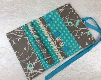 Birds Jewellery roll Jewelry organiser travel wrap case pouch