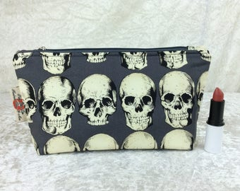 Gothic Skulls Zipper case zip pouch fabric bag pencil case purse pouch Alexander Henry Rad Skulls