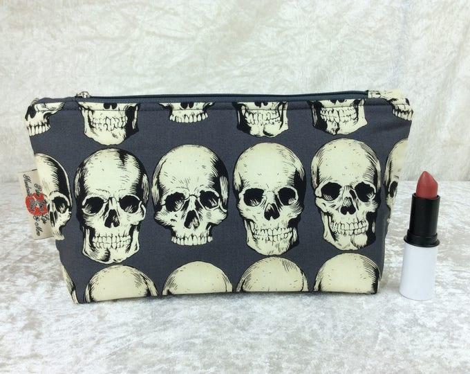 Gothic Skulls Zipper case zip pouch fabric bag pencil case purse pouch Alexander Henry Rad Skulls
