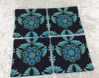 Turquoise Flowers Fabric coasters set of 4 mug rugs