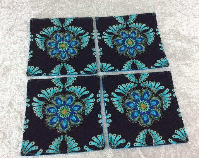 Turquoise Flowers Fabric coasters set of 4 mug rugs