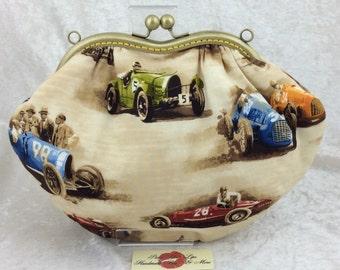 Racing Cars purse bag frame handbag fabric clutch shoulder bag frame purse kiss clasp bag Handmade Vintage Classic Cruisers