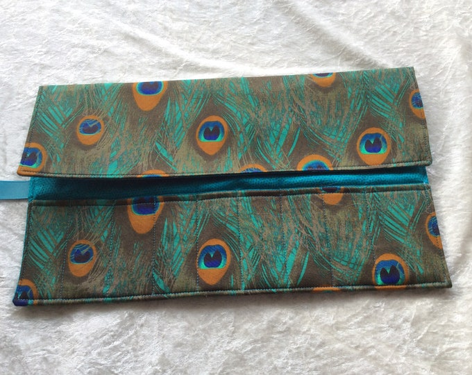 Handmade Makeup Pen Pencil Roll Crochet Knitting needles tool holder case  Peacock Feathers