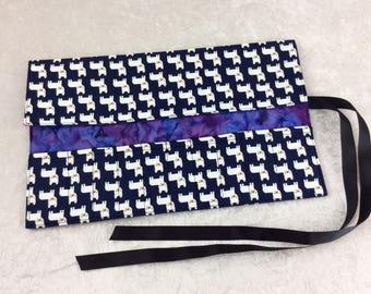 French Bulldog Makeup Pen Pencil Roll Crochet Knitting needles tool organiser Make up holder case wrap Dogs