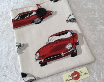 E-Type Jaguar Large Tablet Case fabric cover pouch Handmade in England