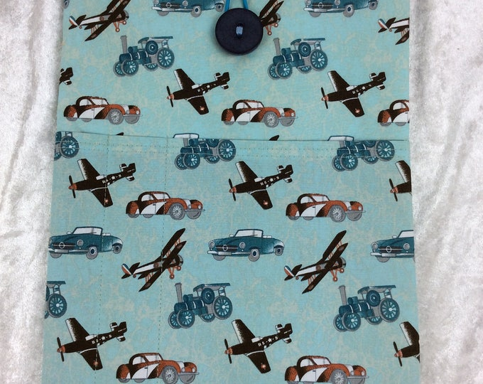 Planes and Steam Tablet Case Cover Pouch iPad Kindle Large