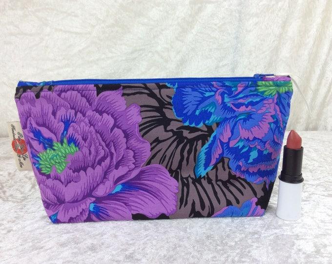 Peony Flowers Zipper case zip pouch fabric bag pencil case purse pouch Kaffe Fassett Brocade Peony