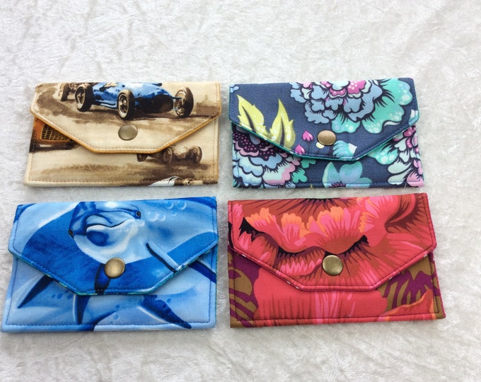 Card holder business card case wallet fabric travel pass cover cars flowers dolphins peony
