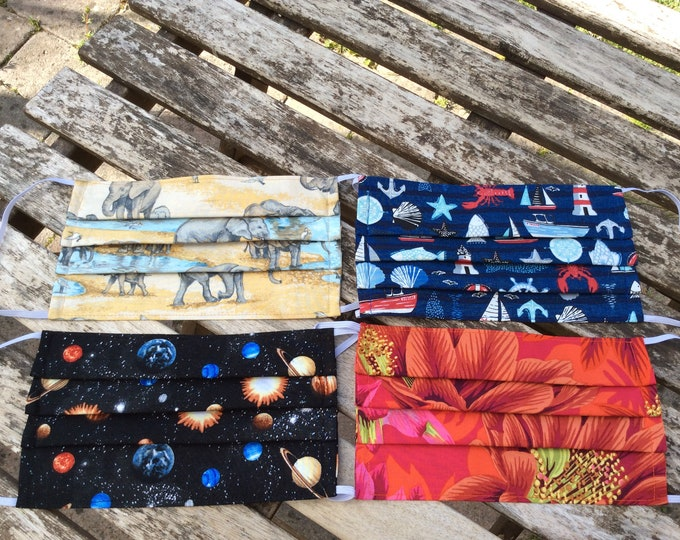 Featured listing image: Face coverings masks optional nose wire pleated filter pocket fabric handmade washable reusable cotton two layer elephants seaside space
