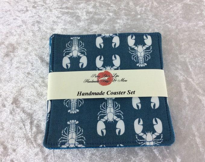Lobsters Fabric coasters set of 4 mug rugs