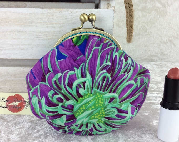 Chrysanthemums coin purse wallet fabric kiss clasp frame wallet change pouch  handmade Kaffe Fassett Philip Jacobs hand stitched frame