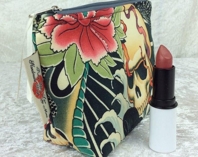 Gothic Skulls Zipper case zip pouch fabric bag pencil case purse pouch Alexander Henry Zen Charmer