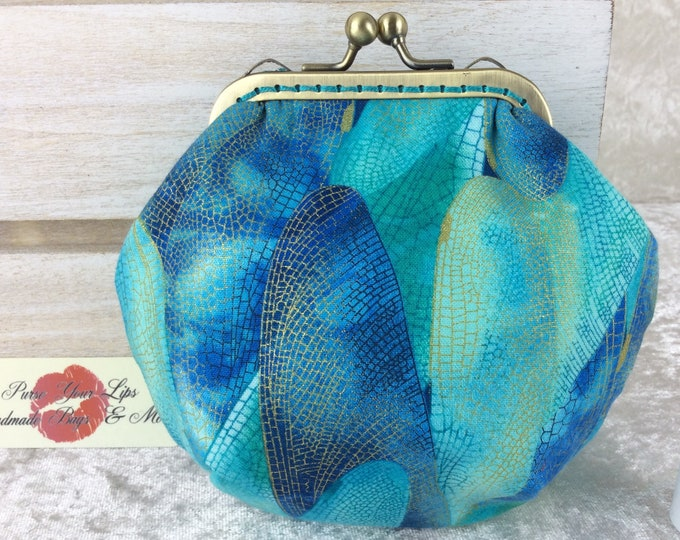 Dragonfly Wings coin purse wallet fabric kiss clasp frame wallet change pouch handmade