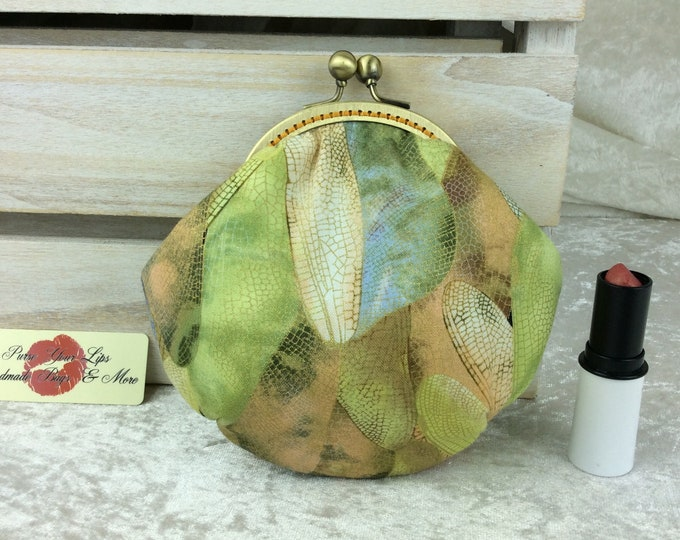 Featured listing image: Coin purse wallet Dragonfly Wings fabric kiss clasp frame wallet change pouch handmade hand stitched frame