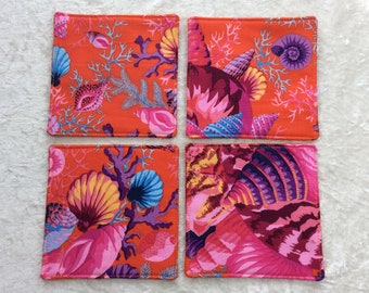 Fabric coasters set of 4 mug rugs  Shells Bouquet Kaffe Fassett Philip Jacobs