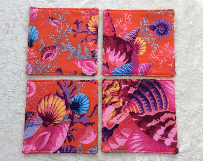 Shells Fabric coasters set of 4 mug rugs Shell Bouquet Kaffe Fassett Philip Jacobs