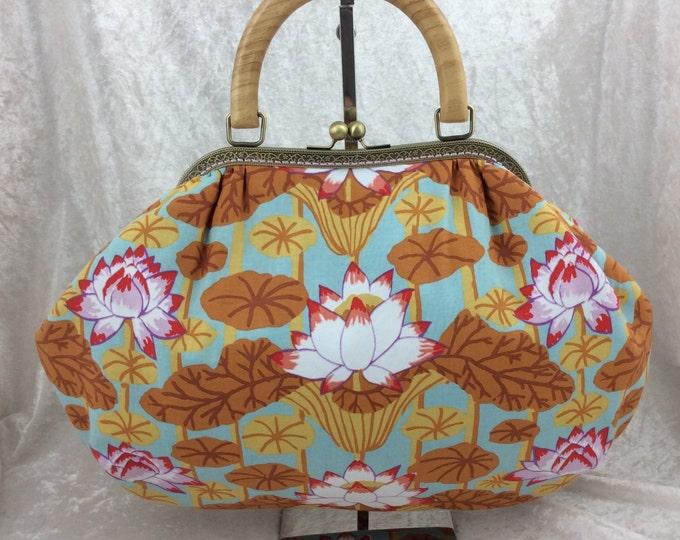 Lotus Stripe Fabric purse bag frame handbag fabric handbag shoulder bag frame purse kiss clasp bag Handmade Philip Jacobs Kaffe Fassett