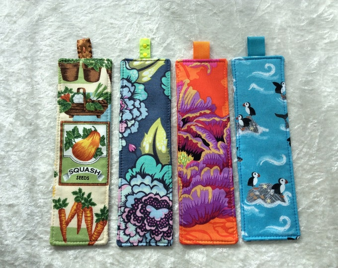 Fabric Bookmarks Handmade Bookmarks Seed packets Blue Flowers orange flowers peony Puffins blue