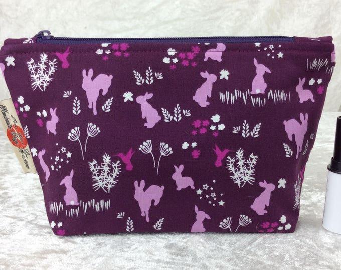 Bunny Rabbits Zipper case zip pouch fabric bag pencil case purse pouch
