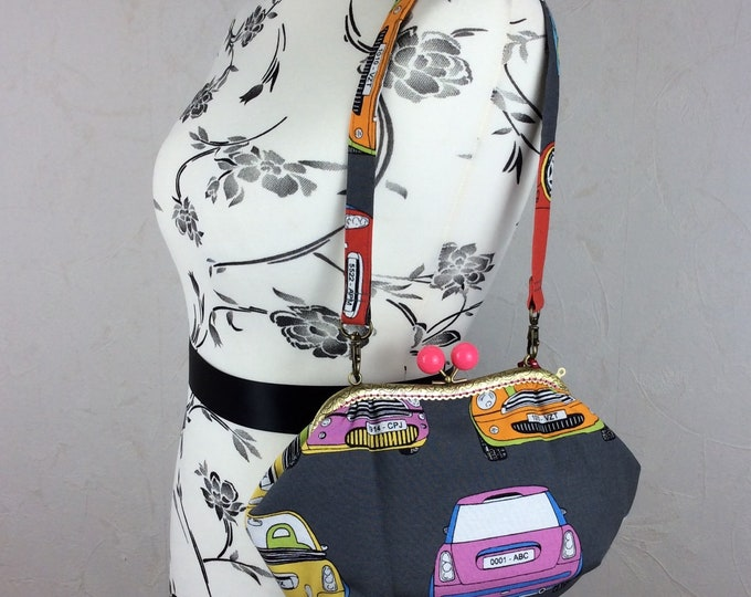 BMW Minis purse bag frame handbag fabric clutch shoulder bag frame purse kiss clasp bag Handmade Cars