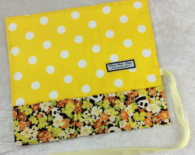 Pandas in Flowers Makeup Pen Pencil Roll Crochet Knitting needles tool organiser Make up holder case wrap