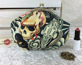 Gothic Skulls Snakes small frame handbag purse bag fabric clutch shoulder bag frame purses kiss clasp bag Alexander Henry Zen Charmer