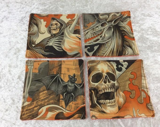 Gothic Skulls Bats Fabric coasters set of 4 mug rugs Alexander Henry Heart of Darkness